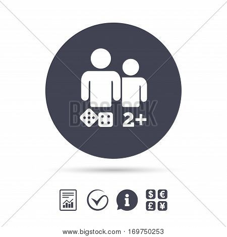 Board games sign icon. Two plus players symbol. Dice sign. Report document, information and check tick icons. Currency exchange. Vector