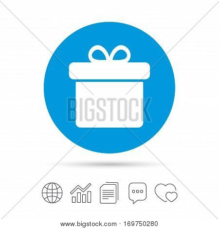 Gift box sign icon. Present symbol. Copy files, chat speech bubble and chart web icons. Vector