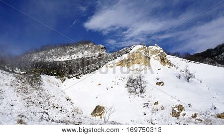Noboribetsu Onsen Snow Mountain Bluesky Hell Valley Winter
