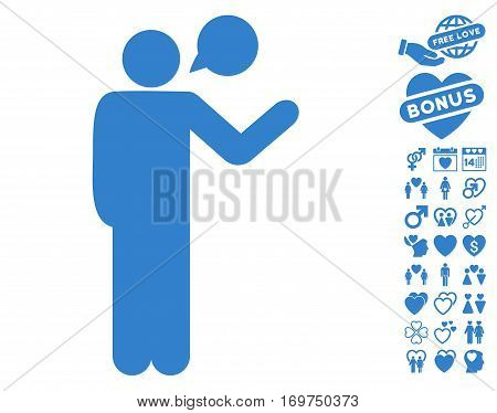 Talking Man pictograph with bonus dating pictograph collection. Vector illustration style is flat iconic cobalt symbols on white background.