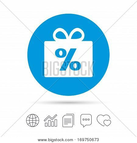 Gift box sign discount icon. Present symbol. Copy files, chat speech bubble and chart web icons. Vector