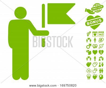 Commander With Flag pictograph with bonus valentine images. Vector illustration style is flat iconic eco green symbols on white background.