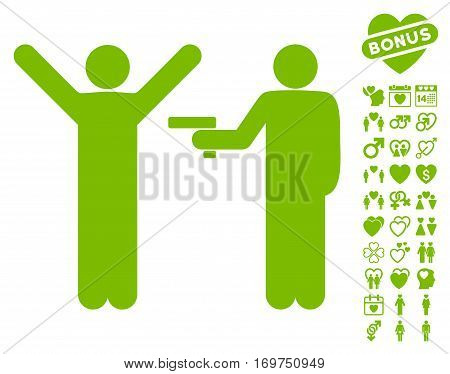 Crime Robbery pictograph with bonus love graphic icons. Vector illustration style is flat iconic eco green symbols on white background.