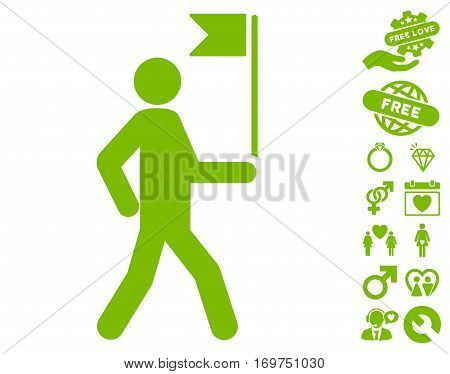 Guide Man With Flag icon with bonus dating graphic icons. Vector illustration style is flat iconic eco green symbols on white background.