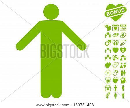 Ignorance Pose icon with bonus valentine icon set. Vector illustration style is flat iconic eco green symbols on white background.