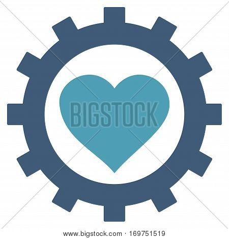 Love Heart Options Gear flat icon. Vector bicolor cyan and blue symbol. Pictogram is isolated on a white background. Trendy flat style illustration for web site design, logo, ads, apps,