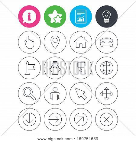 Information, light bulb and report signs. GPS navigation icons. Car and Ship transport. You are here, map pointer symbols. Search gas or petrol stations, hotels. Favorite star symbol. Flat buttons