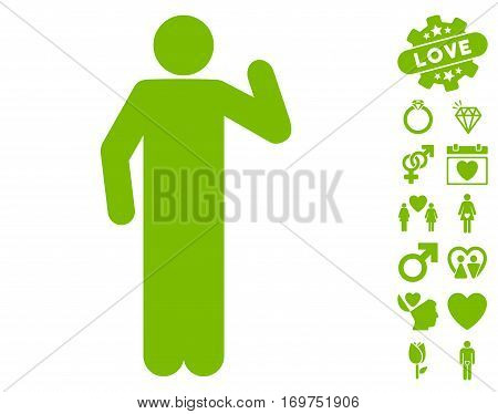 Opinion Pose pictograph with bonus lovely symbols. Vector illustration style is flat iconic eco green symbols on white background.