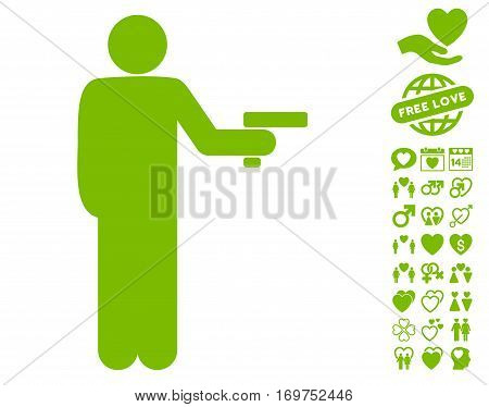 Robber With Gun icon with bonus lovely images. Vector illustration style is flat iconic eco green symbols on white background.