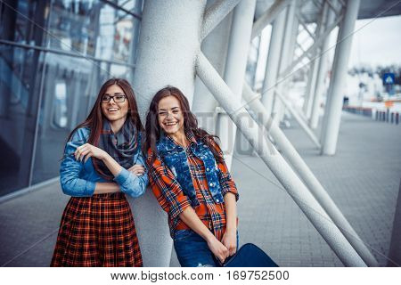 Girls having fun and happy when they met at the airport.Art processing and retouching photos special.