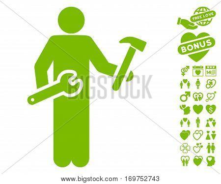 Serviceman pictograph with bonus love symbols. Vector illustration style is flat iconic eco green symbols on white background.