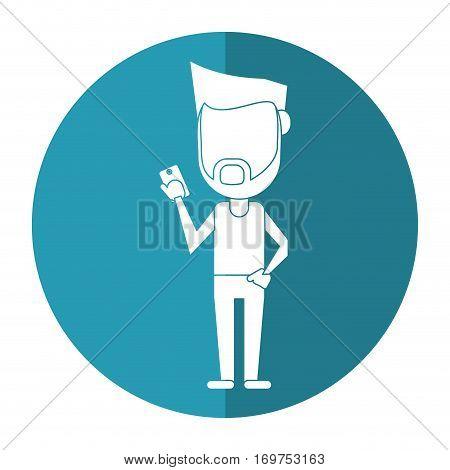 hipster man beard using cellphone digital shadow vector illustration eps 10