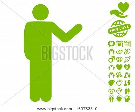 Talking Man pictograph with bonus love graphic icons. Vector illustration style is flat iconic eco green symbols on white background.