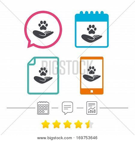 Shelter pets sign icon. Hand holds paw symbol. Animal protection. Calendar, chat speech bubble and report linear icons. Star vote ranking. Vector