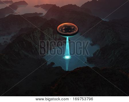 flying saucer soar over a mountain lake, 3d illustration