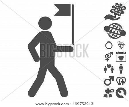 Guide Man With Flag icon with bonus valentine design elements. Vector illustration style is flat iconic gray symbols on white background.