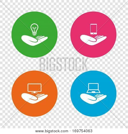 Helping hands icons. Intellectual property insurance symbol. Smartphone, TV monitor and pc notebook sign. Device protection. Round buttons on transparent background. Vector