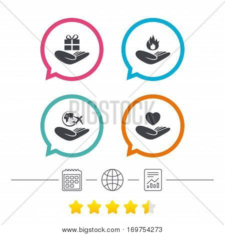 Helping hands icons. Health and travel trip insurance symbols. Gift present box sign. Fire protection. Calendar, internet globe and report linear icons. Star vote ranking. Vector