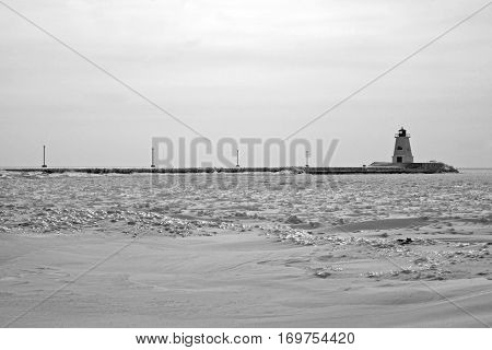 Lighthouse on Lake Erie on a wintery day