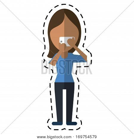 character woman making selfie photograph with smartphone cut line vector illustration eps 10