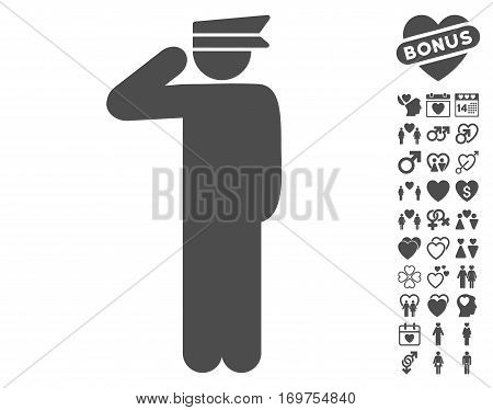 Police Officer icon with bonus lovely clip art. Vector illustration style is flat iconic gray symbols on white background.