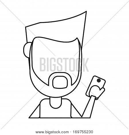 hipster man beard using cellphone digital thin line vector illustration eps 10
