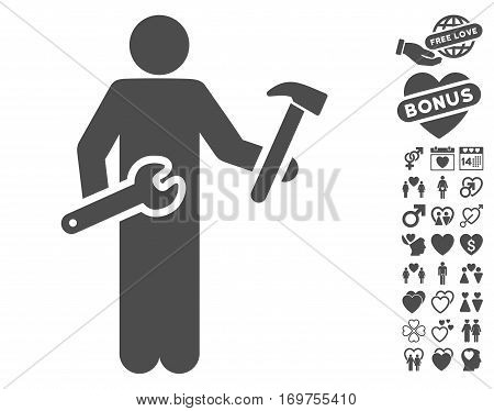 Serviceman pictograph with bonus valentine clip art. Vector illustration style is flat iconic gray symbols on white background.