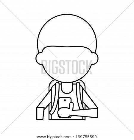 young boy looking cellphone social media thin line vector illustration eps 10
