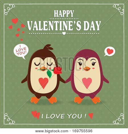 Vintage Valentines Day poster design with couple, penguin