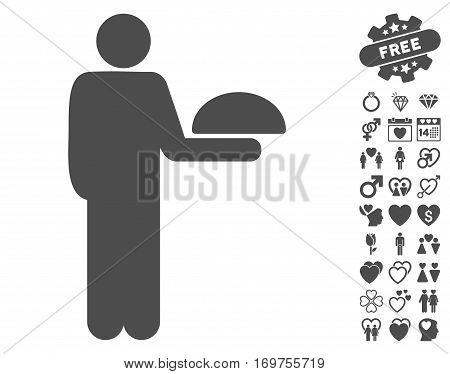 Standing Waiter icon with bonus lovely design elements. Vector illustration style is flat iconic gray symbols on white background.