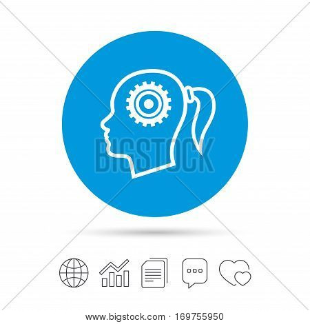 Head with gear sign icon. Female woman human head think symbol. Copy files, chat speech bubble and chart web icons. Vector