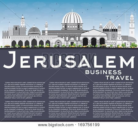 Jerusalem Skyline with Gray Buildings, Blue Sky and Copy Space. Vector Illustration. Business Travel and Tourism Concept with Historic Architecture. Image for Presentation Banner Placard and Web Site.