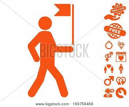 Guide Man With Flag pictograph with bonus dating symbols. Vector illustration style is flat iconic orange symbols on white background.