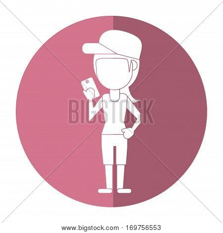 sportwoman sharing smarthpone technology shadow vector illustration eps 10