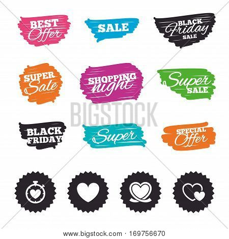Ink brush sale banners and stripes. Heart ribbon icon. Timer stopwatch symbol. Love and Heartbeat palpitation signs. Special offer. Ink stroke. Vector
