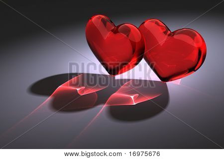 two glass heart