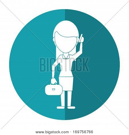 woman business with suitcase talk cellphone shadow vector illustration eps 10