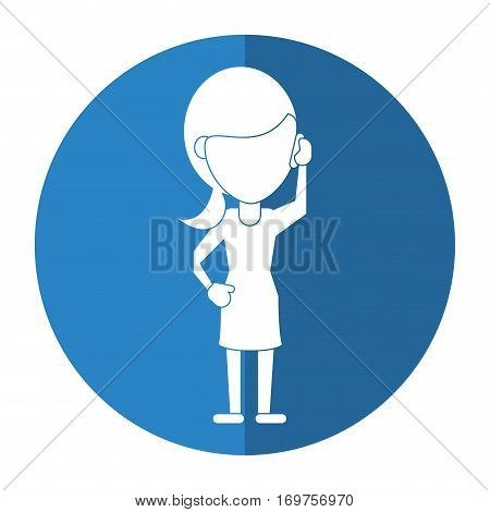 woman character communicating talk smartphone shadow vector illustration eps 10