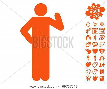 Proposal Pose icon with bonus valentine graphic icons. Vector illustration style is flat iconic orange symbols on white background.