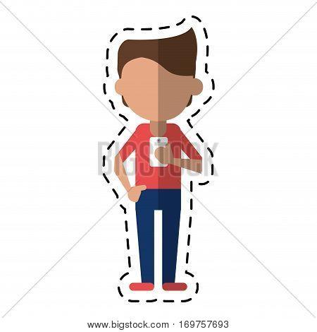 young man holding cellphone mobile dot line vector illustration eps 10
