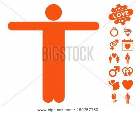 Scarecrow Pose icon with bonus valentine pictograph collection. Vector illustration style is flat iconic orange symbols on white background.