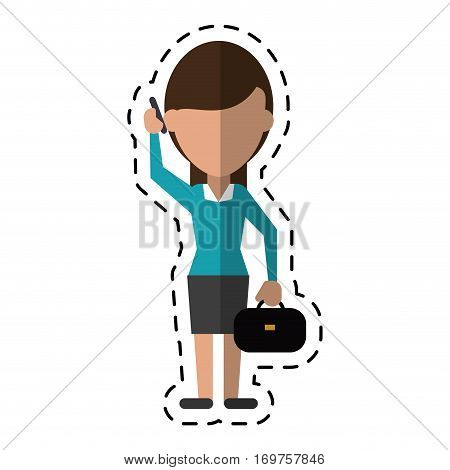 woman business with suitcase talk cellphone dot line vector illustration eps 10