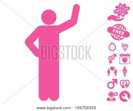 Assurance Pose pictograph with bonus love clip art. Vector illustration style is flat iconic pink symbols on white background.