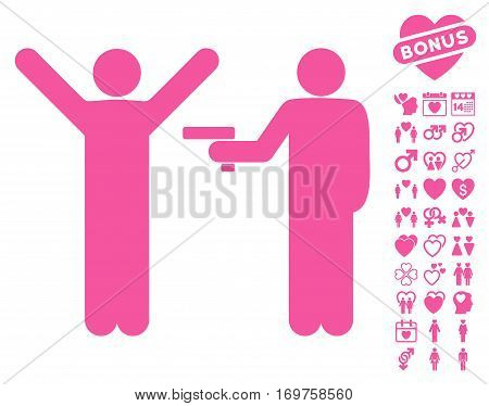 Crime Robbery icon with bonus valentine graphic icons. Vector illustration style is flat iconic pink symbols on white background.