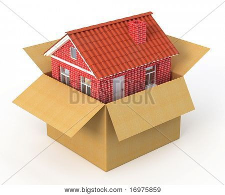 New house in the cardboard box - real estate concept - 3d render