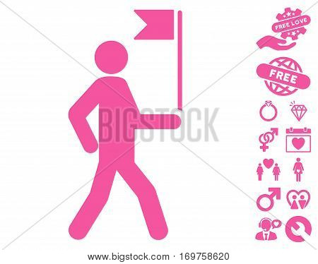 Guide Man With Flag pictograph with bonus valentine pictograms. Vector illustration style is flat iconic pink symbols on white background.