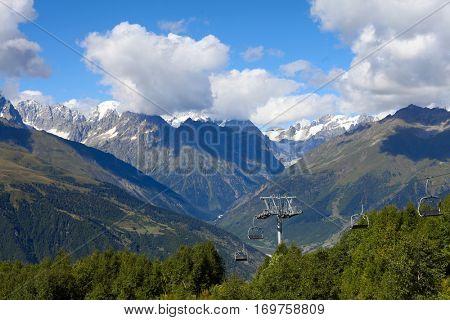 Mountain cableway. Georgia, Svaneti, Mestia.