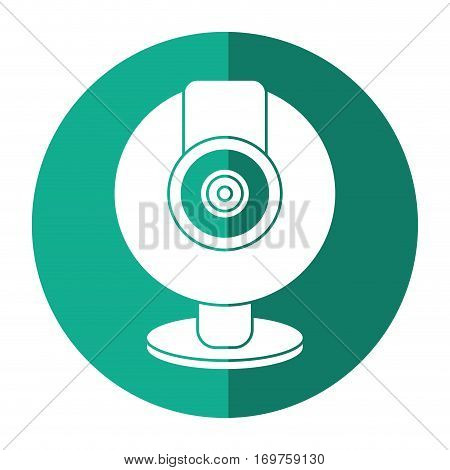 web cam computer rounded icon shadow vector illustration eps 10