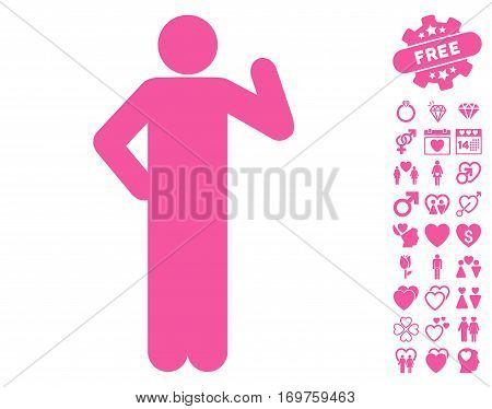 Proposal Pose icon with bonus lovely design elements. Vector illustration style is flat iconic pink symbols on white background.