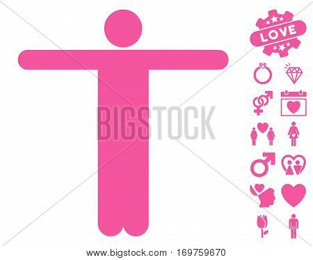 Scarecrow Pose icon with bonus love symbols. Vector illustration style is flat iconic pink symbols on white background.